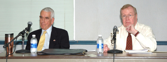 Leigh Middleditch (Left) and Terry Cooper speaking at the Senior Center in Charlottesville.